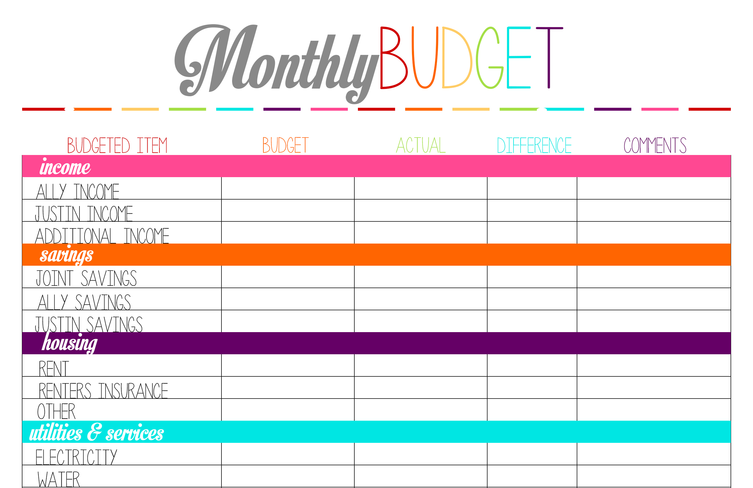 printable monthly budget planner template – Printable Home Budget Worksheet