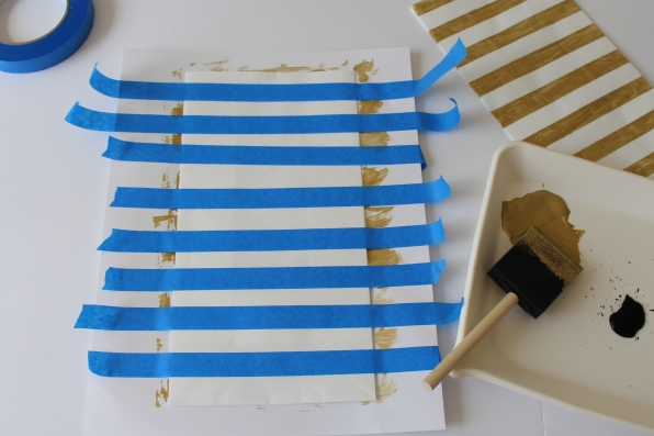 DIY Gold Striped Bags